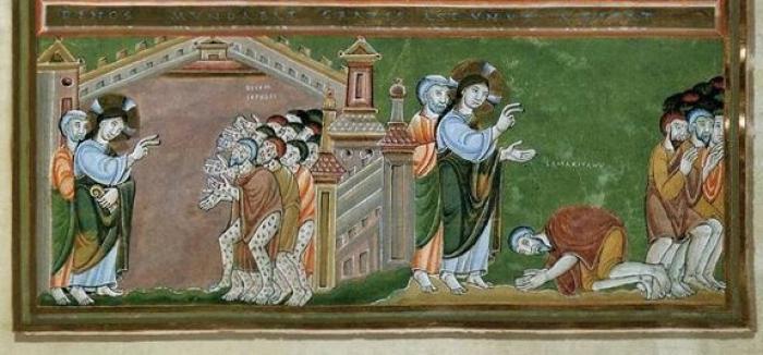 Dans le grand duché du Luxembourg actuel, à Echternach, l'abbaye bénédictine fondée par saint Willibrord, abritait une école de peinture parmi les plus importantes et les plus influentes d'Europe au Xe et au XIe siècle. Le codex Aureus d'Echternach est un évangéliaire enluminé du Xe siècle et comprend 13 planches en couleur et 96 en noir et blanc. L'ouvrage est d'une incroyable richesse. (Crédits photo : CETAD de l'Institut catholique de Paris)
