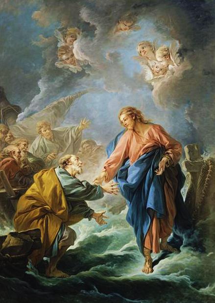 Saint Pierre tentant de marcher sur les eaux par François Boucher 1766. Cathédrale Saint-Louis de Versailles. (Crédits photo : Wikimedia Commons Domaine public)