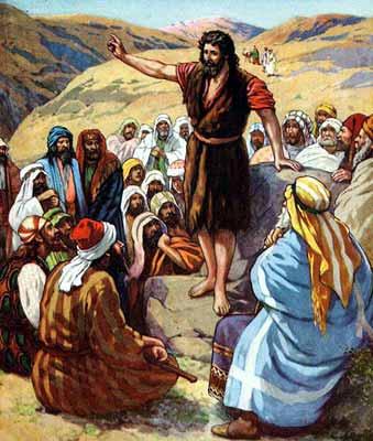 Jean-Baptiste en train de prêcher (Domaine public)