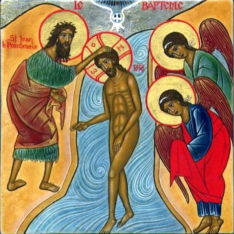 Le baptême de Jésus par Jean-Baptiste dans le Jourdain ( Credits photo : Images saintes )