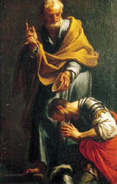 Le baptême du centurion Corneille par saint Pierre à Césarée par Francesco Trevisani dit Il Romano 1709 (Domaine public via Wikimedia Commons)