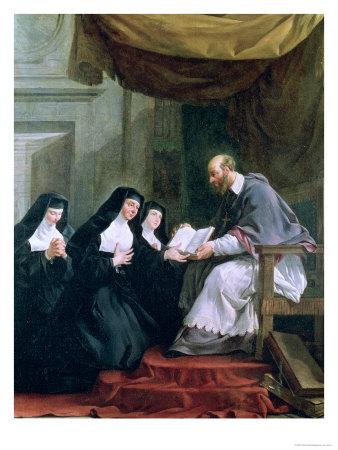 Saint François de Sales remettant à sainte Jeanne de Chantal les Constitutions des visitandines