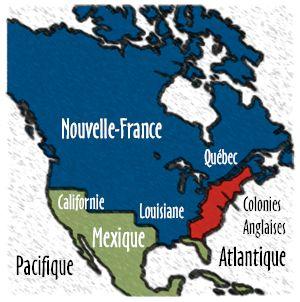 La partie bleue représente le territoire confié à Mgr François de Laval en 1659 qui devint le diocèse de Québec, le premier en Amérique au nord du Mexique, en 1674.