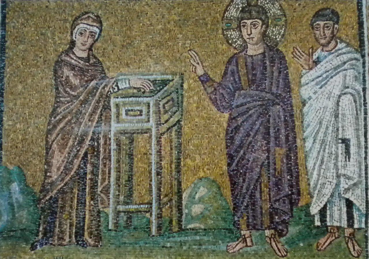 La veuve déposant son obole au temple sous le regard de Jésus (Mosaïque ancienne)