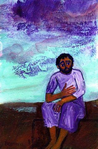 Le fils prodigue qui réfléchit et rentre en lui-même Luc 15, 17  (Crédits photo : Bernadette Lopez, alias Berna dans Évangile et peinture )
