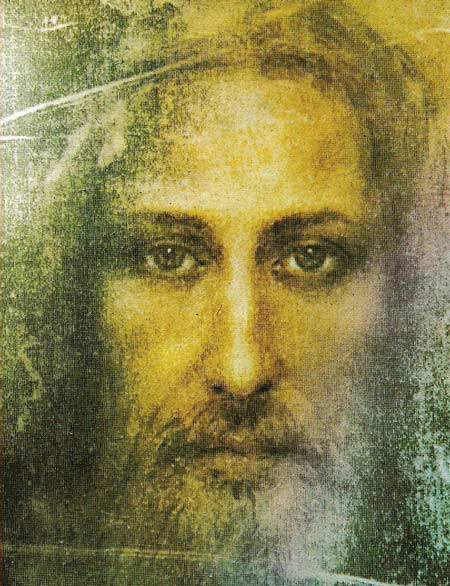 Coloration du visage qui se trouve sur le Saint Suaire de Turin qui est vénéré comme celui de Jésus (Domaine public)