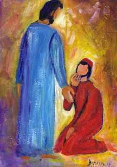 Le lépreux reconnaissant (Crédits photo : Bernadette Lopez, alias Berna dans Évangile et peinture )